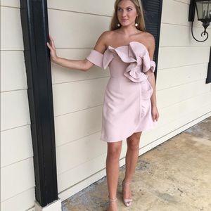 Keepsake blush ruffle dress